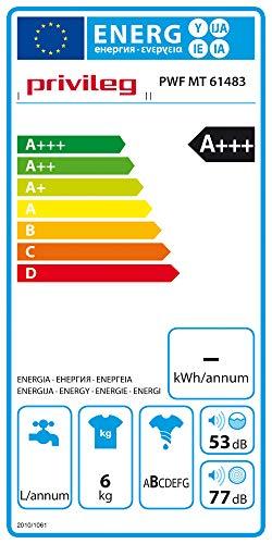 Privileg PWF MT 61483 Waschmaschine Frontlader/A+++/ 1351 UpM/ 6 kg/Startzeitvorwahl/Kurzprogramme/Eco-Motor/Wolle-Programm/Mehrfachwasserschutz , Weiss - 11