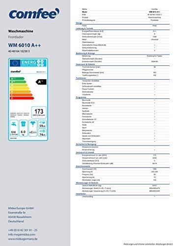 Comfee WM 6010 A++ Waschmaschine / 6KG / EEK: A++ / 23 Programme/Trommelreinigung/Easy Wash/Kurzwäsche/Extra Spülen / 1000 U/min [Energieklasse A++] - 9