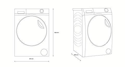 Haier HW80-B14979 I-PRO Serie 7 Waschmaschine Frontlader / 8 kg / 119 kWh/Jahr / Direct Motion Motor / XL Trommel / ABT / Refresh-Dampfprogramm / Vollwasserschutz / Nur 46 cm Tiefe - 2