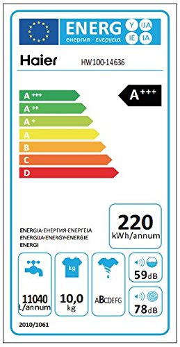 Haier HW100-14636 Waschmaschine FL/A+++/220 kWh/Jahr/1400 UpM/10 kg/Aqua Protect Schlauch - 4