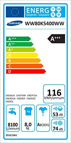 Samsung WW80K5400WW/EG Waschmaschine FL/A+++/116 kWh/Jahr/1400 UpM/8 kg/Add Wash/Smart Check/Digital Inverter Motor - 12