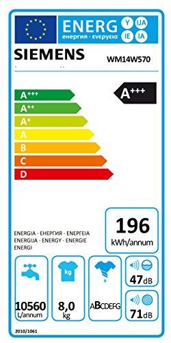 Siemens iQ700 WM14W570 Waschmaschine / 8,00 kg / A+++ / 196 kWh / 1.400 U/min / Schnellwaschprogramm / Nachlegefunktion / aquaStop - 7