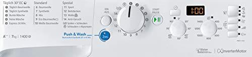 Privileg PWF X 743 Waschmaschine Frontlader / A+++ / 1400 UpM / 7 kg /Mengenautomatik/Startzeitvorwahl/Maschinenreinigung/Inverter Motor/Wasserschutz/Antiflecken-Option/Bügelleicht-Option/Daunen - 7